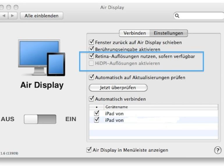 HiDPI unter OS X: Schon jetzt dank iPad 3. Generation & Air Display ausprobieren