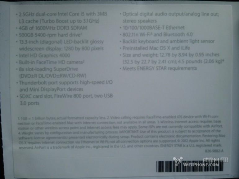 MacBook Pro 2012: Foto zeigt angeblich Spezifikationen des neuen 13-Zoll-Modells