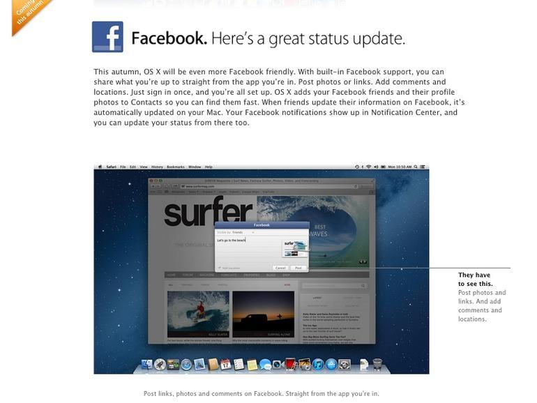 OS X Mountain Lion: Facebook-Integration kommt im Herbst