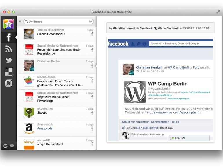 Favs vereint Delicious, Dribbble, Facebook, Flattr, Flickr, GitHub, Google Reader, Instagram, Pinboard, StackOverflow, Twitter, Vimeo, YouTube und Zootool.