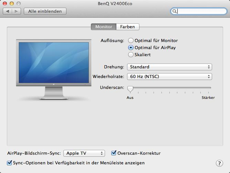 <b>AirPlay Einstellungen: </b>Entweder der Mac passt sich an den Fernseher oder der Fernseher an den Mac an