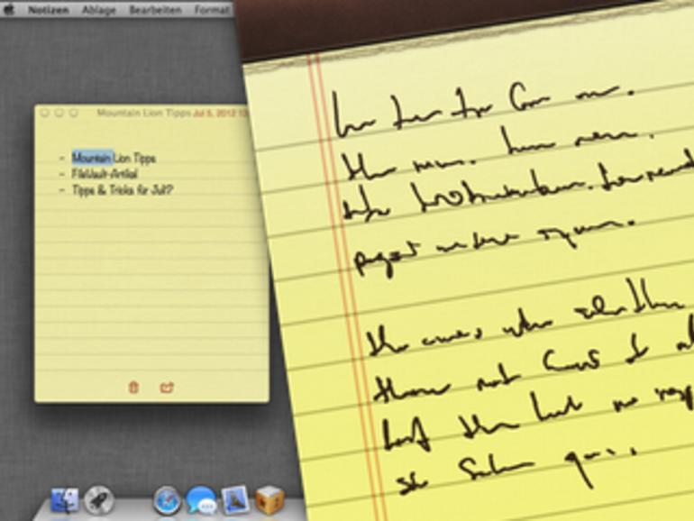 OS X Mountain Lion: Notizen, wichtige Erinnerungen auf dem Schreibtisch ablegen