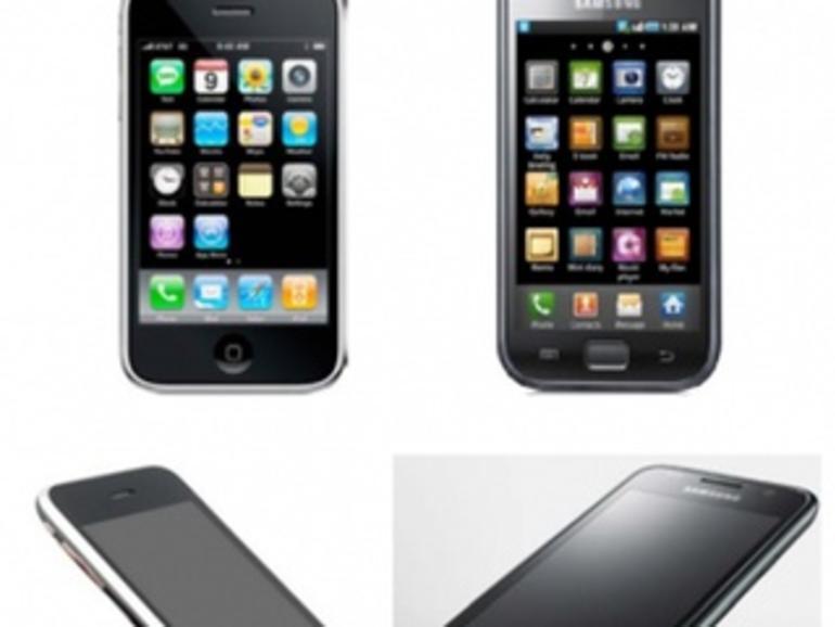 """Zu ähnlich: Links das Apple-Smartphone, recht die """"Kopie"""" von Samsung."""