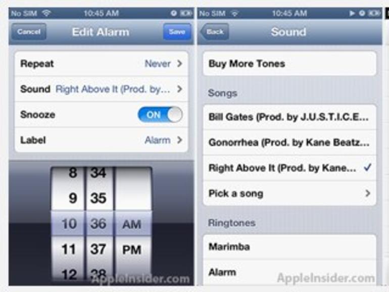 Tschüss Marimba & Co: iOS-6-Wecker bringt eigene iTunes-Titel als Weckton
