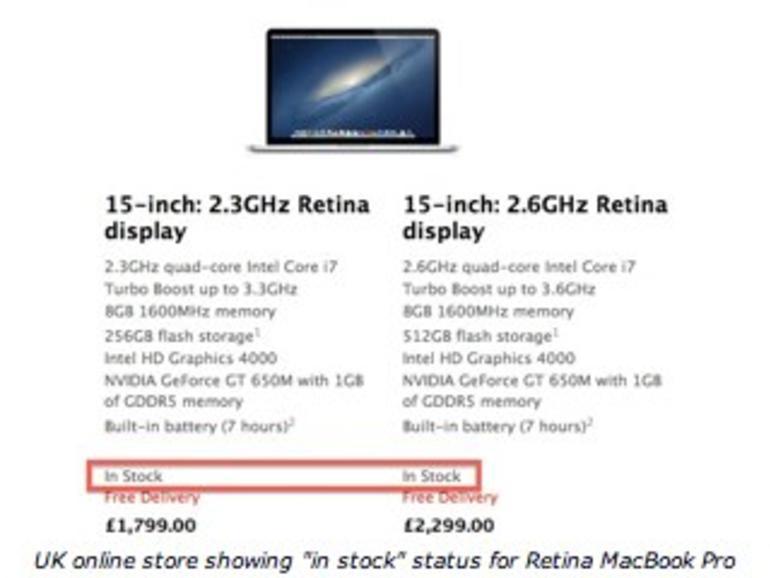 MacBook Pro mit Retina-Display: Verfügbarkeit weiter verbessert