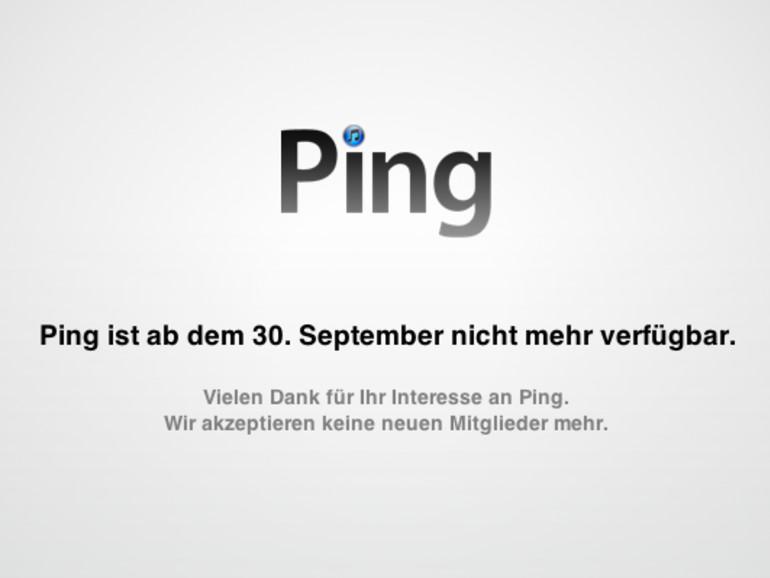 Ping ab dem 30. September nicht mehr verfügbar