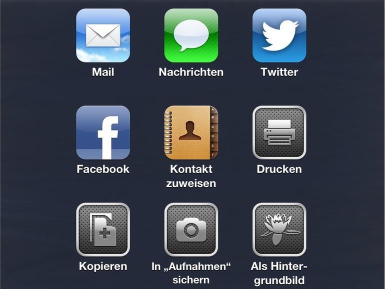 iOS 6: Drucken, Twittern oder Posten –die neue Teilen-Taste