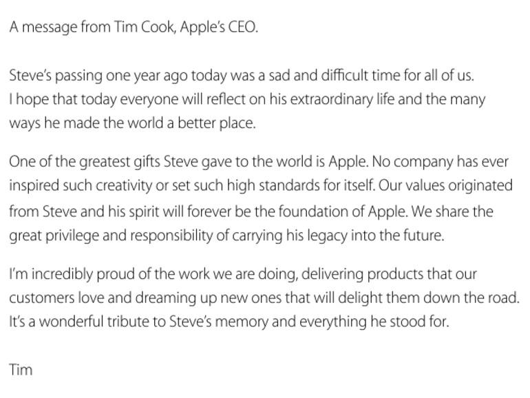 Apples CEO Tim Cook gedenkt Steve Jobs mit einem offenen Brief