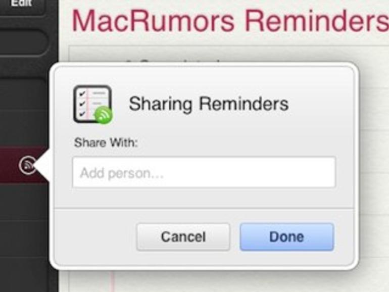 iCloud.com: Erinnerungen mit anderen gemeinsam nutzen