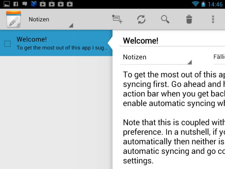 Ein Beispiel für eine gelungene App: Notes for ICS ist für Smartphones und Tablets angepasst.