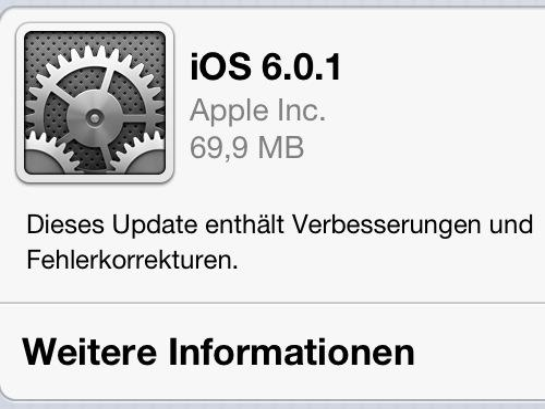 Apple veröffentlicht iOS 6.0.1 für iPhone, iPad und iPod touch