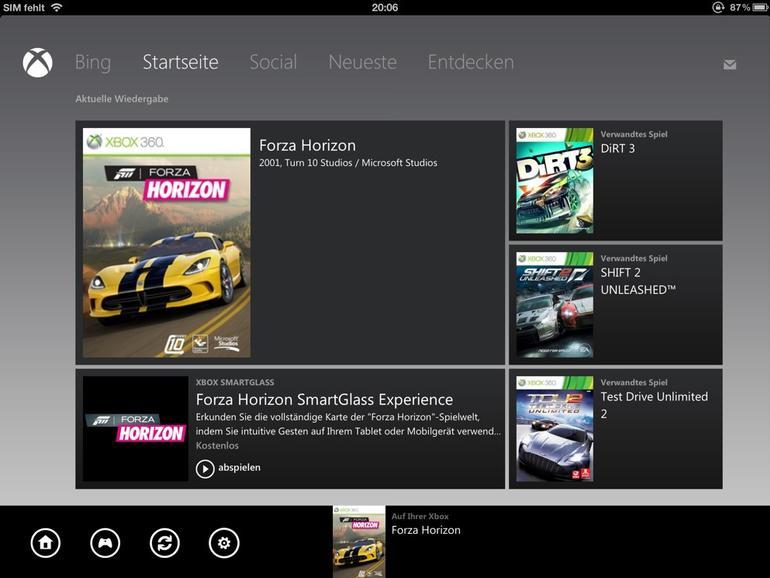 <strong>Die Startseite der SmartGlass-App auf einem iPad</strong>