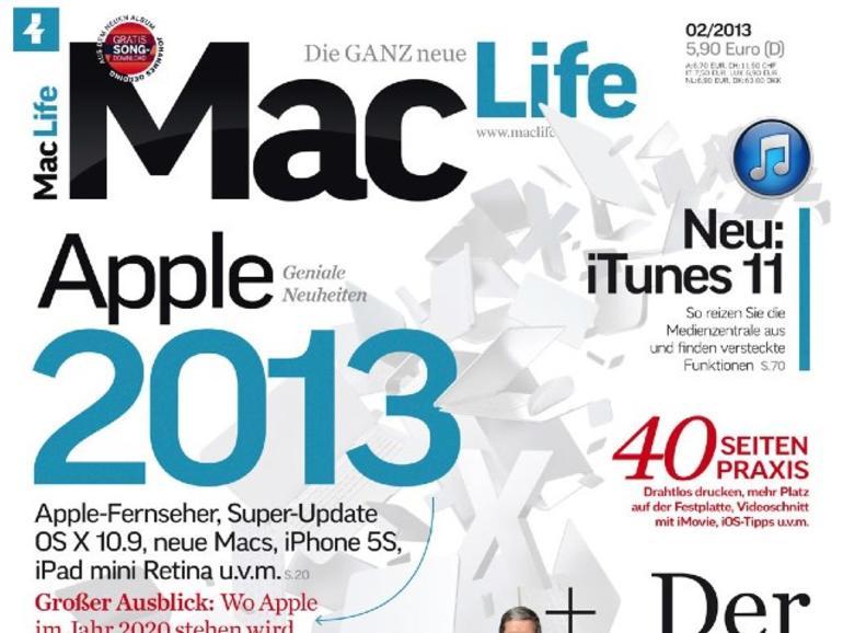 Die neue Mac Life 02 2013 schon jetzt lesen: Apple 2020, neuer iMac im Test, iTunes 11 ausreizen u.v.m.