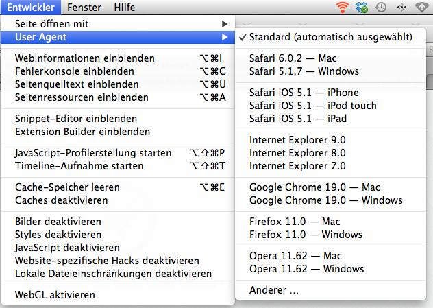OS X: User Agent in Safari ändern