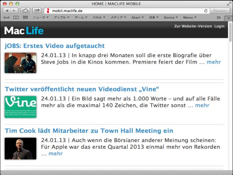 Mac Life schaltet auf die mobile Webseite um.