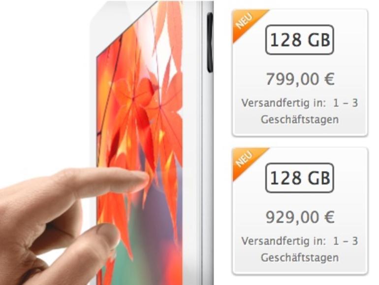 iPad 4 mit 128-GB-Speicherplatz: Ab heute bestellbar, versandfertig in 1 bis 3 Geschäftstagen