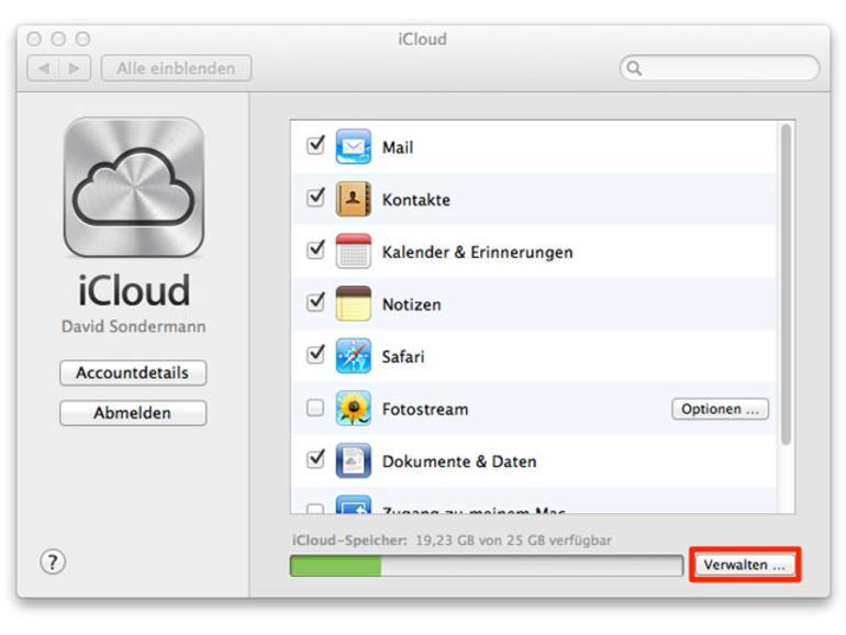 iCloud verwalten in den Systemeinstellungen