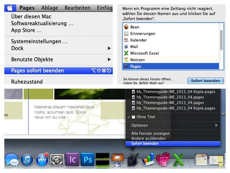 Programme sofort beenden über Apfel-Menü, Sofort beenden-Fenster und Dock