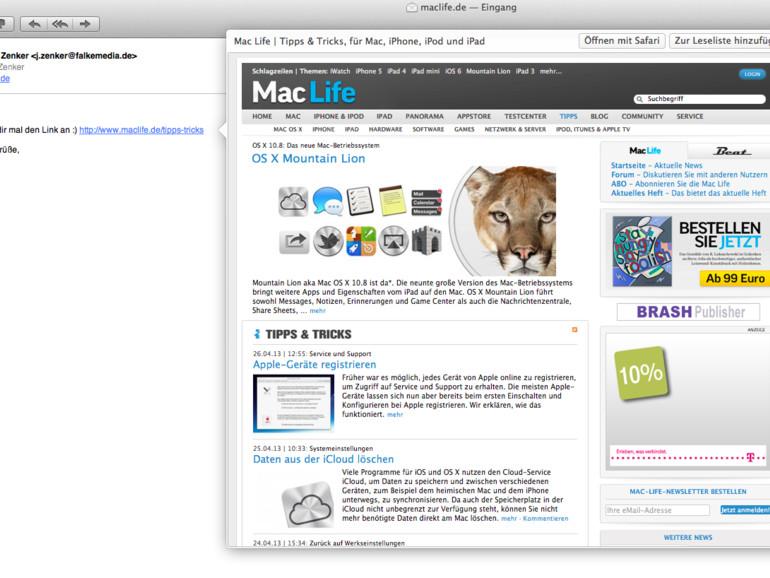 Mail.app: Vorschau auf komplette Websites