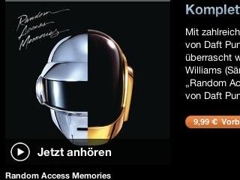 Lücke in iTunes erlaubte Download des neuen Daft Punk Albums