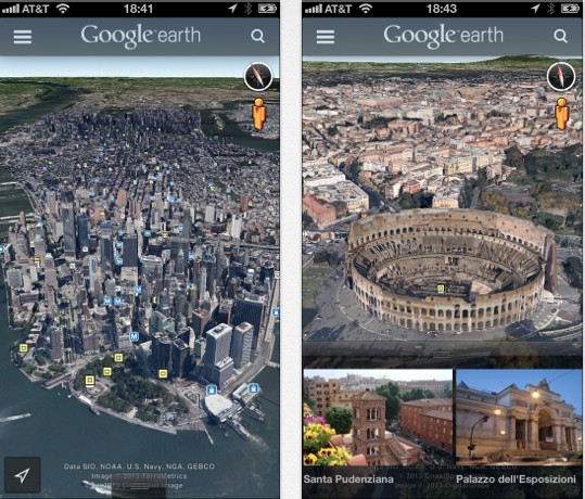 Google Earth App nun mit Street View