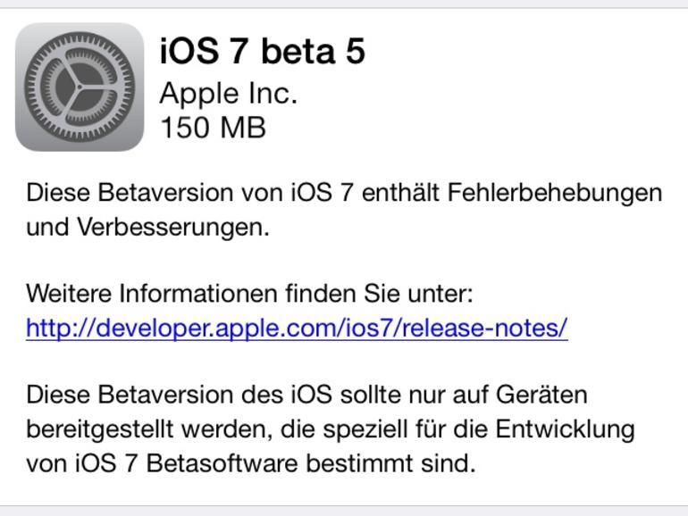 Apple veröffentlicht iOS 7 Beta 5 mit kleinen optischen Neuerungen