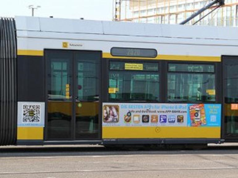 Netzfundstück: Straßenbahn wirbt für Apps
