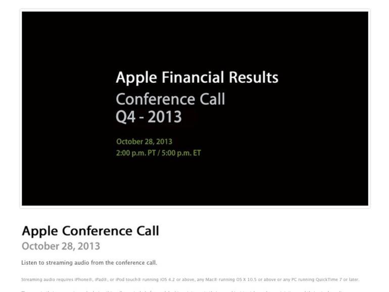 Apple Quartalszahlen Q4 2013: Bekanntgabe am 28. Oktober
