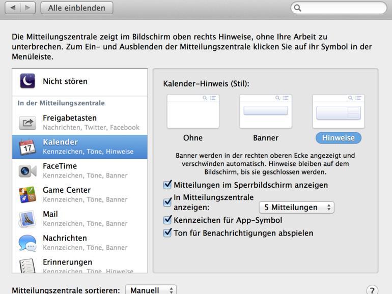 OS X Mavericks: Symbol-Hinweis auf Mitteilungen aus dem Dock entfernen