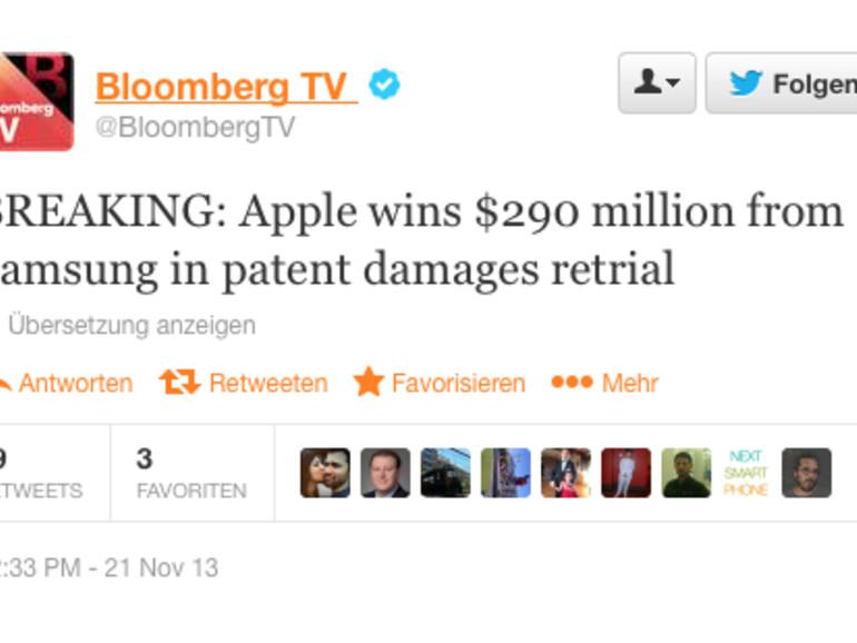 Rechtsstreit mit Samsung: Apple erhält weitere 290 Millionen US-Dollar Schadensersatz