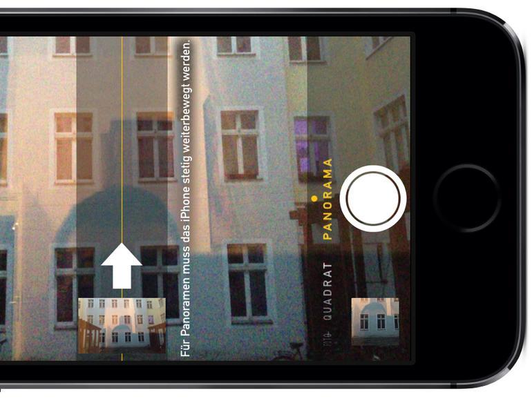Panorama-Funktion auf dem iPhone und iPod touch vertikal verwenden
