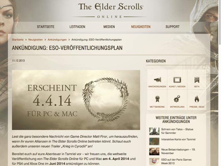 Elder Scrolls Online: Mac-Version des MMORPGs erscheint am 4. April 2014