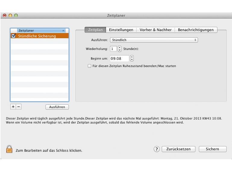 Mithilfe des Zeit- planers stellen Sie den automatischen Ablauf aller Backups ein.