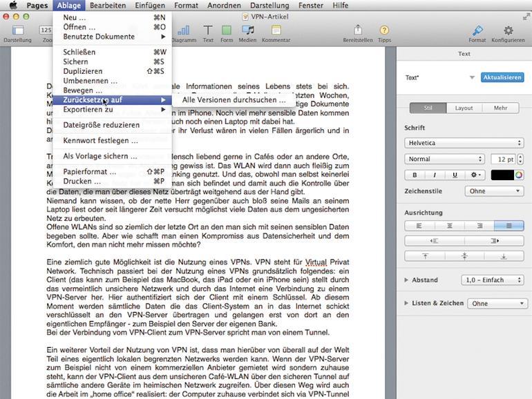 """Sollte ein altes Dokument im neuen iWorks nicht wie erwartet angezeigt oder bearbeitet werden können, können Sie über das Ablage-Menü zu einer alten Version zurückkehren. Unter """"Exportieren zu"""" können Sie neu erstelle Dokumente darüber hinaus f"""