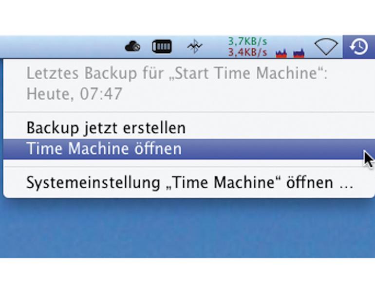 Über die Menüleiste haben Sie stets schnellen Zugriff auf die per Time Machine gesicherten Daten.