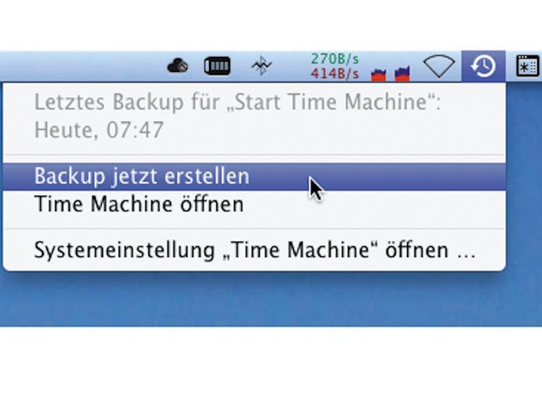 Den Befehl für eine außerplanmäßige Sicherung finden Sie für Time Machine über das Menüsymbol.