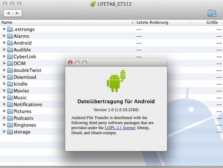 Mit Android File Transfer kopieren Sie die Dateien auf das Android-Gerät.