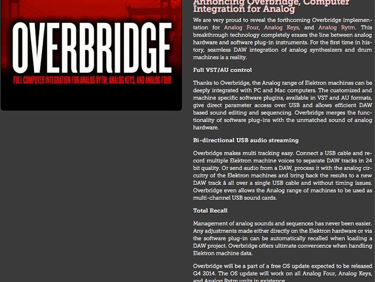 Musikmesse 2014: Elektron Overbridge für die DAW