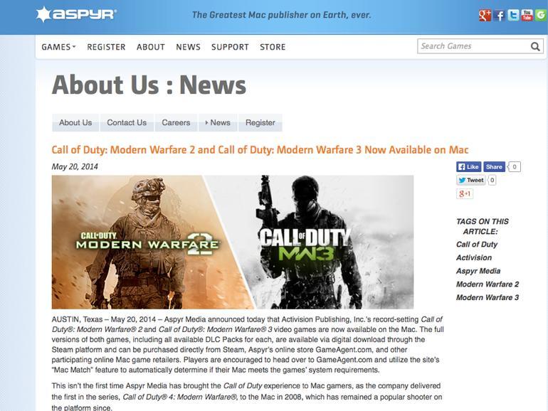 Call of Duty auf dem Mac: Modern Warfare 2 und 3 erschienen