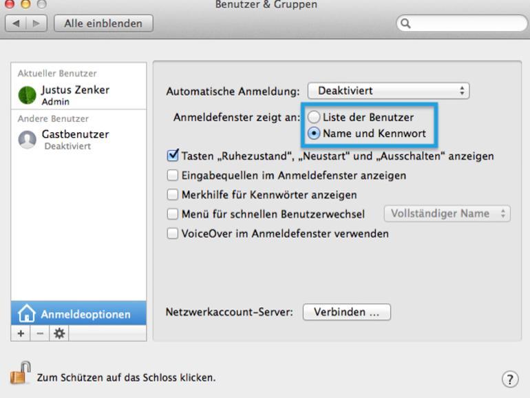 Mehr Sicherheit am Mac: Benutzernamen eingeben statt klicken
