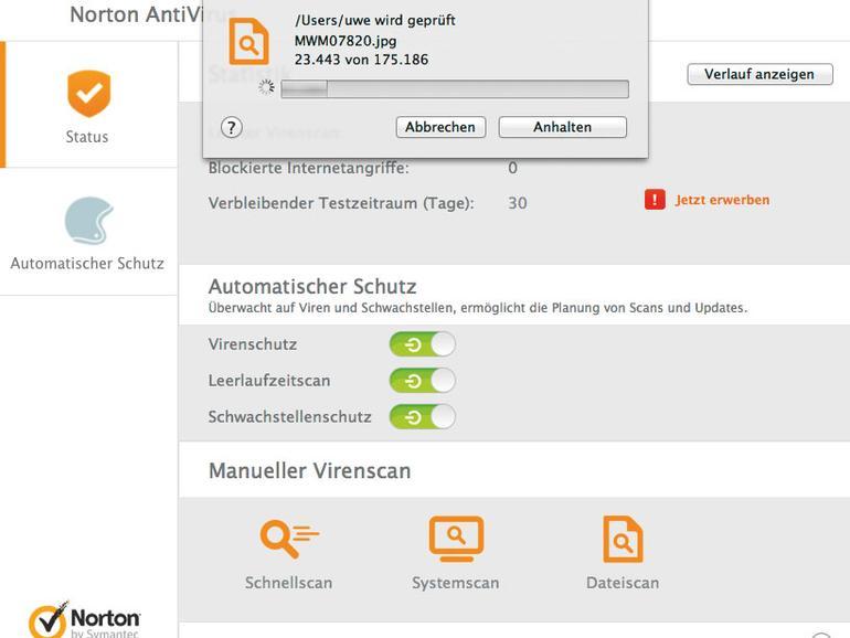 Ein Schnellscan mit Norton Antivirus.