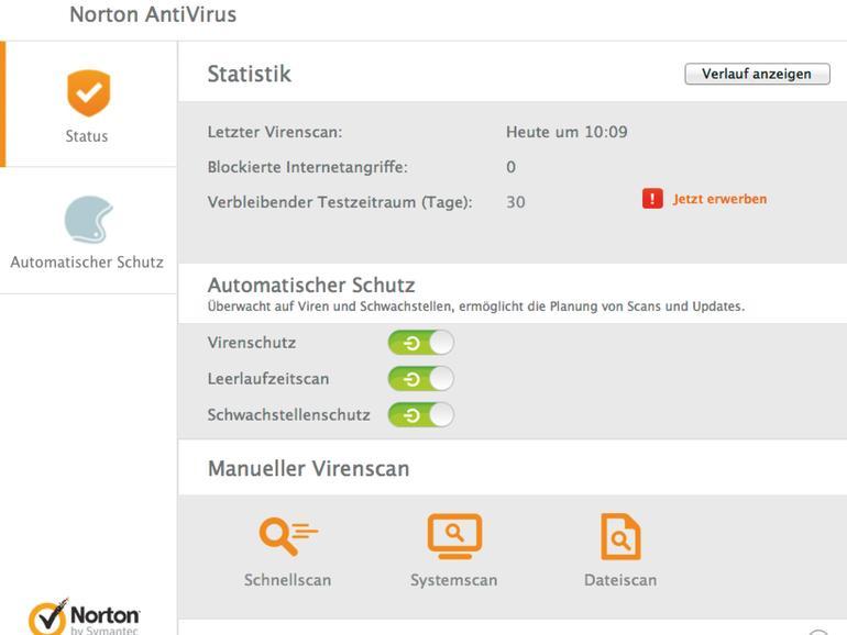 Die Benutzeroberfläche von Norton Antivirus.
