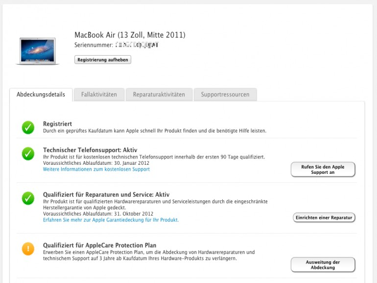 """""""Mein Supportprofil"""": Alle eigenen Apple-Geräte im Überblick"""