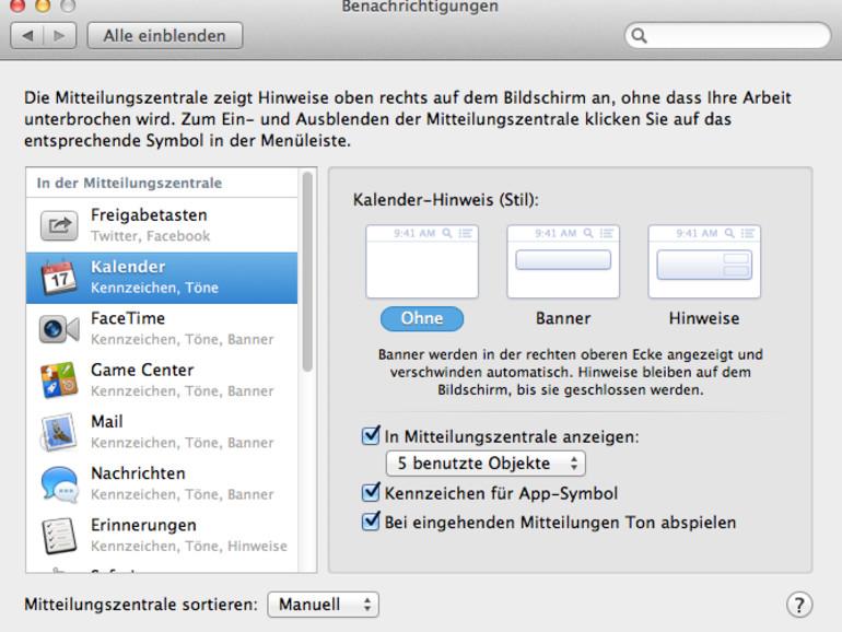 OS X Mountain Lion: So deaktivieren Sie Benachrichtigungen in der Nachrichtenzentrale
