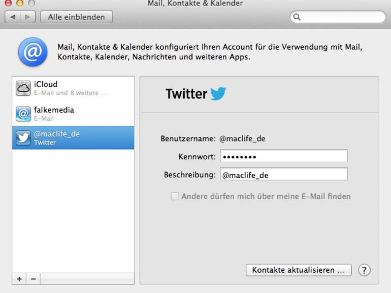 OS X Mountain Lion: Twitter & OS X – Anmelden und Tweets verschicken