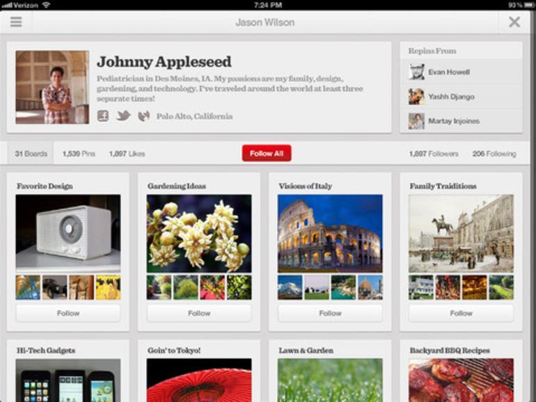 Pinterest 2.0 mit iPad-Unterstützung veröffentlicht