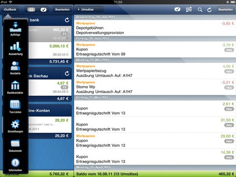 iOutBank für iPad