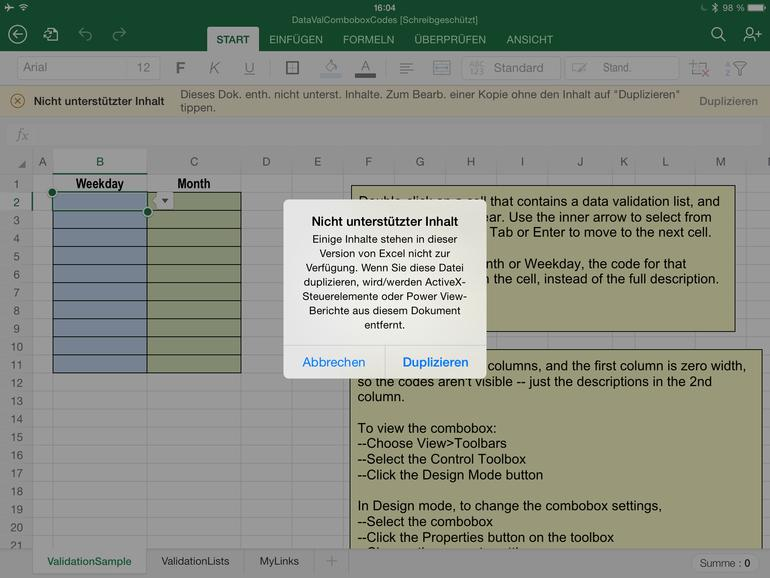 Test: Microsoft Excel für iPad