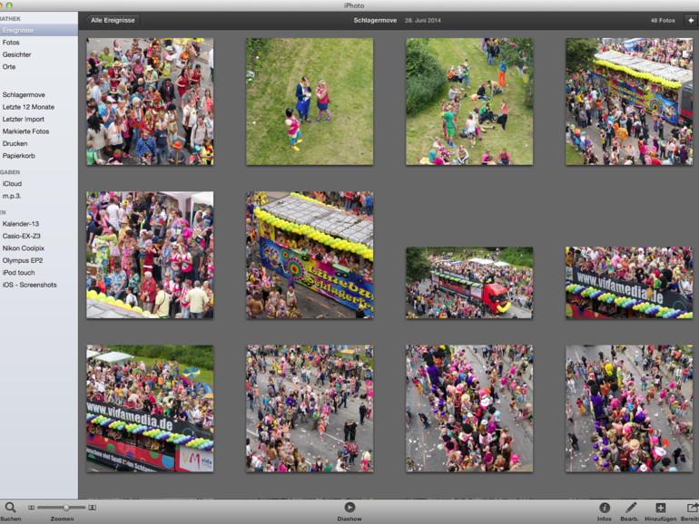 Ereignisse: iPhoto fasst Bilder, die zeitlich und räumlich in einer Beziehung stehen, automatisch zu Ereignissen zusammen. Wenn nötig, lassen sich Ereignisse zusammenführen und bearbeiten.