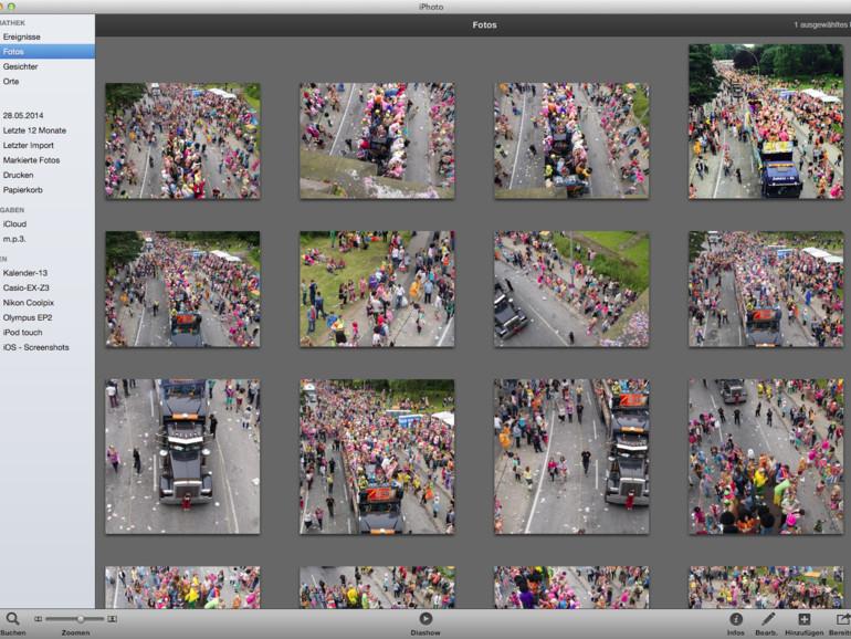Fotos: Über Fotos sind alle Bilder in verkleinerter Ansicht zu sehen. Bilder  assen sich per USB-Kabel direkt aus einer Kamera auslesen oder über den Fotostream vom iPhone übernehmen.